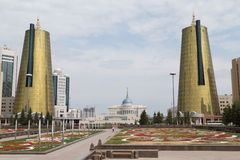 Twin towers in governmental district, Astana Stock Photo