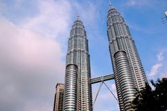 Twin Towers in Kuala Lumpur. The Tallest twin buildings in the world Royalty Free Stock Photos