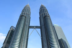 Twin towers in kuala lumpur. The tallest twin buildings in the world Stock Photography