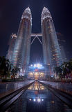 Twin Towers. Long Exposure Night View In Kuala Lumpur Stock Images