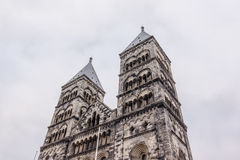 Twin towers of Lund cathedral. Towers to the west, called: 'The boys of Lund Stock Photos