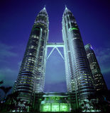 Twin towers in Malaysia. View of the twin towers in Malaysia in the early evening Royalty Free Stock Photography