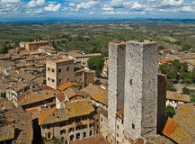 Twin towers in a medieval city, tuscany, italy Stock Photo