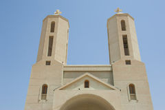 Twin towers of modern coptic christian church Royalty Free Stock Photo