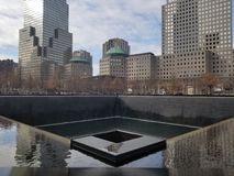 Twin Towers Monument. At one of the Twin Towers Monument in New York royalty free stock image