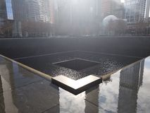 Twin Towers Monument. At one of the Twin Towers Monument in New York stock images
