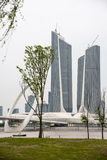 Twin Towers Nanjing Youth Olympic Center and Nanjing eye pedestrian bridge Royalty Free Stock Image