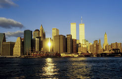 Twin towers in New York. In sunset royalty free stock photos