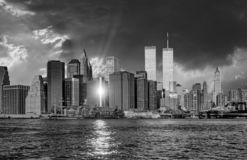 Twin towers in New York in sunset. Light royalty free stock photography