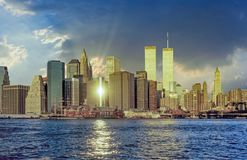 Twin towers in New York in sunset. Light royalty free stock photo