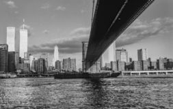 Twin towers in New York. In sunset with skyline royalty free stock images