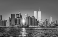 Twin towers in New York in sunset. Light stock images