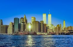 Twin towers in New York in sunset. Light royalty free stock photos