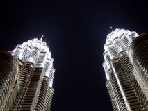 Twin towers at night. Pinnacles of Petronas Twin Towers at night Royalty Free Stock Photography