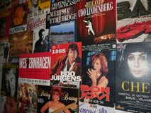 Old PopArt Posters in the Nikolaikirche Area of Berlin shows an entirely different side of the city with quaint streets and cafes. The twin towers of the royalty free stock images