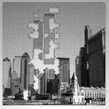 Twin towers puzzle broken Stock Photo