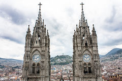 Twin towers Quito Ecuador. The twin clock towers of Bas�lica del Voto Nacional in Quito Ecuador Royalty Free Stock Images