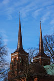 Twin Towers of Roskilde Cathedral. Denmark. Since 1995 the cathedral has been listed as a UNESCO World Heritage Site Royalty Free Stock Image