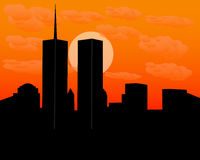 Twin towers at sundown Royalty Free Stock Images