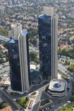 Aerial view of Sabanci Center Twin Towers and Convention Hall at at Levent, Istanbul, Turkey. stock photo