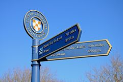 Twin Towns signpost, Lichfield, England. Royalty Free Stock Images