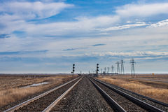 Twin Tracks and Blue Skies Royalty Free Stock Photography