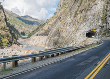 Twin tunnels on the Feather River Canyon. Route Stock Photos