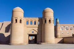 Twin-turreted West Gate - Khiva, Uzbekistan royalty free stock photos
