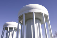 Twin Water Towers. Two tall spherical steel water towers in Highland Park Minnesota royalty free stock photo