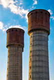 Twin water towers. In Pazardzhik royalty free stock photography