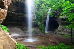 Tonti Canyon Landscape Illinois. Twin waterfalls crash into Tonti Canyon on a spring day at Starved Rock State Park Stock Image