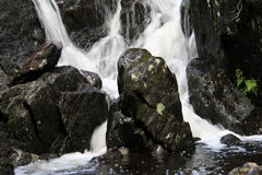 Twin waterfalls. Divided by a large rock in the Norwegian forest Stock Image