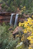 Twin Waterfalls at Emerald Pools. Two waterfalls appear after a brief Autumn rain in Zion Napoinal Park Royalty Free Stock Photos