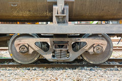 Twin wheel of the train. Twin wheels of the train on the rail stock photo
