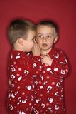 Twin whispering to each other Stock Images