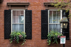 Twin Windows. Two windows in a brick wall Stock Images