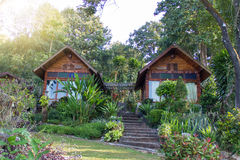 Twin  wooden houses Royalty Free Stock Photography