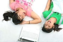 Twin young casual woman Royalty Free Stock Photo