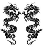 Twindragon_39b. Abstract illustration of black dragons Stock Images