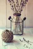 Twine ball with lavender Royalty Free Stock Photography