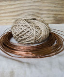 Twine and copper wire Royalty Free Stock Image