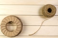 Twine cord. On wooden board background royalty free stock photography
