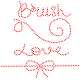 Twine rope bows, gift ties. Red and white string Stock Images