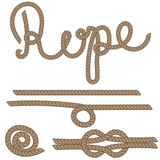 Twine rope knot brush. Brown pattern string. Royalty Free Stock Image