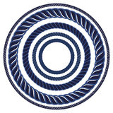 Twine rope navy blue marine brush. Pattern string border. Royalty Free Stock Photos