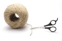 Twine and scissors royalty free stock image