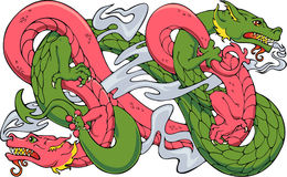 Twined Dragons. Two dragons dancing, wrestling, practicing yoga, or some other strenuous activity Royalty Free Stock Images