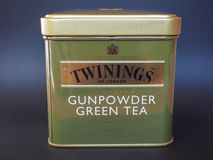 Twinings Green Tea. LONDON, UK - JANUARY 6, 2015: Twinings Gunpowder Green tea Royalty Free Stock Images