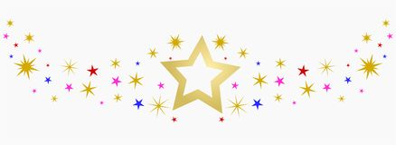 Twinkeling star. Background with golden, blue and pink stars Stock Images
