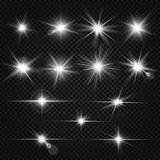 Twinkle lens flares, glare lighting vector effects. Collection of white star energy on on transparent background illustration Stock Photo